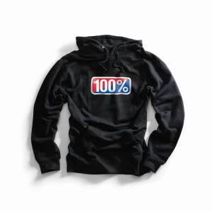 100% Classic Black Pullover Hoodie