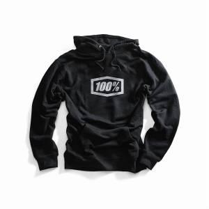 100% Essential Black Pull Over Hoodie