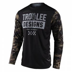 Troy Lee Scout GP Peace and Wheelies Camo Green Motocross Jersey