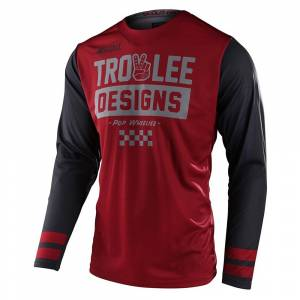 Troy Lee Scout GP Peace and Wheelies Burgundy Dark Grey Motocross Jersey