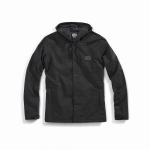 100% Apache Black Hooded Snap Jacket