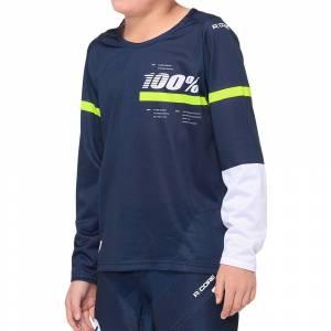 100% Kids R-Core Dark Blue Yellow Motocross Jersey