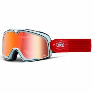 100% Barstow Classic Carlyle True Red Mirror Lens Motocross Goggles
