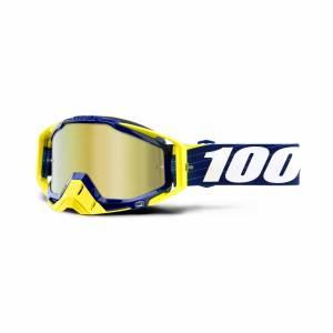 100% Racecraft Bibal Navy Gold Mirror Lens Motocross Goggles