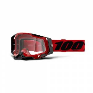 100% Racecraft 2 Red Clear Lens Motocross Goggles