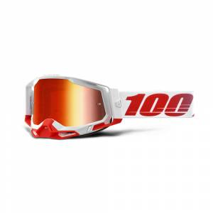 100% Racecraft 2 St-Kith Red Mirror Lens Motocross Goggles