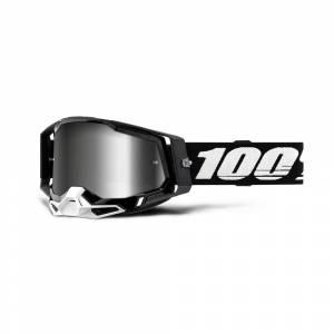 100% Racecraft 2 Black Silver Mirror Lens Motocross Goggles
