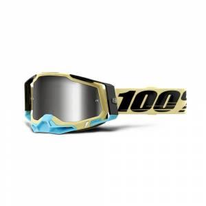 100% Racecraft 2 Airblast Silver Mirror Lens Motocross Goggles
