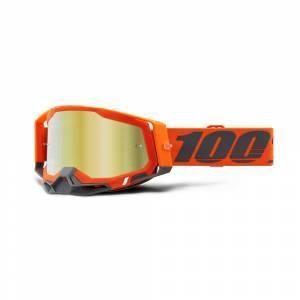 100% Racecraft 2 Kerv Gold Mirror Lens Motocross Goggles