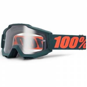 100% Accuri Gunmetal Clear Lens Motocross Goggles