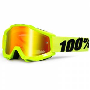 100% Accuri Fluo Yellow Red Mirror Lens Goggles