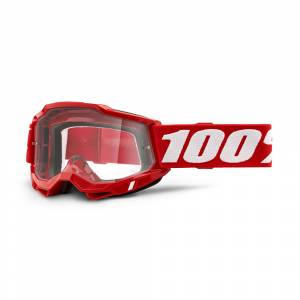 100% Accuri 2 Neon Red Clear Lens OTG Goggles