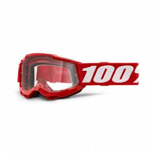 100% Accuri 2 Neon Red Clear Lens Youth Goggles