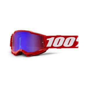 100% Accuri 2 Neon Red Red Blue Mirror Lens Youth Goggles