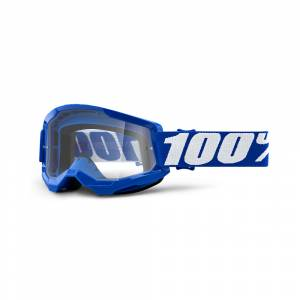100% Strata 2 Blue Clear Lens Motocross Goggles