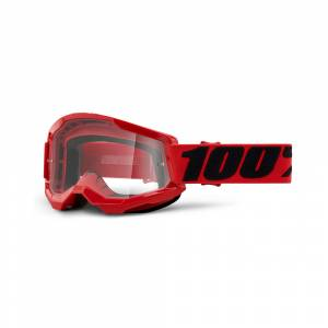 100% Strata 2 Red Clear Lens Motocross Goggles