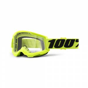 100% Strata 2 Fluo Yellow Clear Lens Motocross Goggles