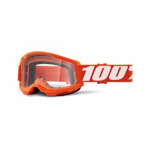 100% Strata 2 Orange Clear Lens Motocross Goggles