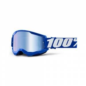 100% Strata 2 Blue Blue Mirror Lens Motocross Goggles