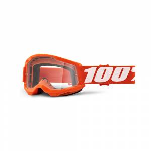 100% Strata 2 Orange Clear Lens Youth Goggles