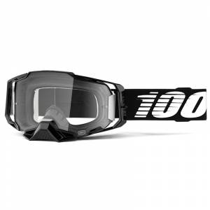 100% Armega Black Essential Clear Lens Motocross Goggles