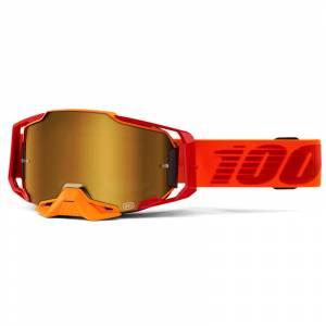 100% Armega LitKit True Gold Mirror Lens Motocross Goggles