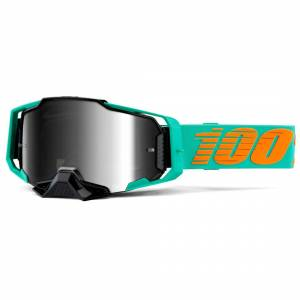 100% Armega Clark Silver Mirror Lens Motocross Goggles