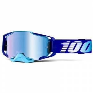 100% Armega Royal Essential Blue Mirror Lens Motocross Goggles