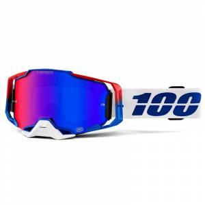 100% Armega Genesis HiPER Blue Red Mirror Lens Motocross Goggles