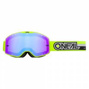 ONeal B-20 Proxy Neon Yellow Black Radium Blue Lens Motocross Goggles