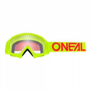 ONeal Kids B-10 Solid Neon Yellow Red Clear Lens Motocross Goggles