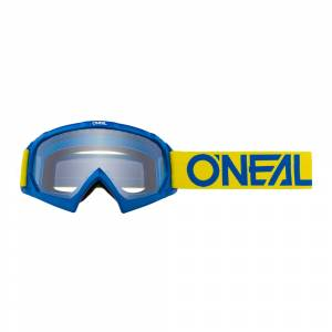 ONeal Kids B-10 Solid Yellow Blue Clear Lens Motocross Goggles