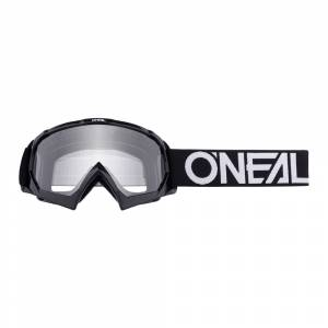 ONeal Kids B-10 Solid Black White Clear Lens Motocross Goggles
