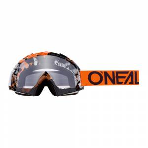 ONeal B-10 Pixel Orange White Clear Lens Motocross Goggles