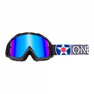 ONeal B-10 Warhawk Black Grey Radium Blue Lens Motocross Goggles