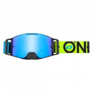 ONeal B-30 Bold Blue Neon Yellow Radium Blue Lens Motocross Goggles