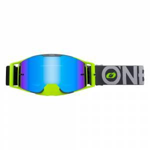 ONeal B-30 Bold Grey Neon Yellow Radium Blue Lens Motocross Goggles
