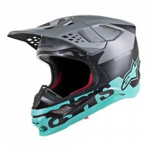 Alpinestars Supertech S-M8 Radium Black Mid Grey Teal Motocross Helmet