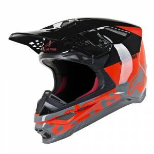 Alpinestars Supertech S-M8 Radium Red Fluo Black Mid Grey Motocross Helmet