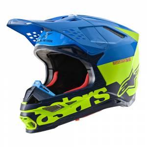 Alpinestars Supertech S-M8 Radium Aqua Yellow Fluo Navy Motocross Helmet