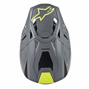 Alpinestars SM8 Radium Grey Yellow Fluo Motocross Helmet Peak