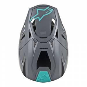 Alpinestars SM8 Radium Cool Grey Teal Motocross Helmet Peak