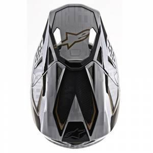 Alpinestars SM10 Alloy Silver Black Gold Motocross Helmet Peak