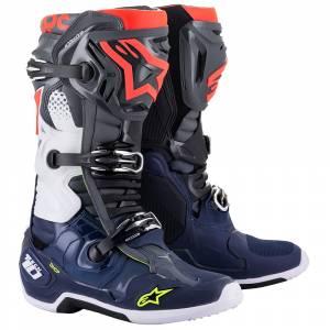 Alpinestars Tech 10 Dark Grey Dark Blue Red Fluo Motocross Boots