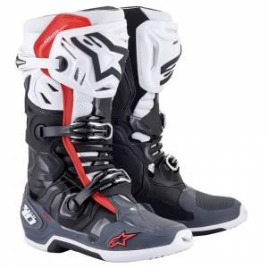 Alpinestars Tech 10 Supervented Black White Grey Red Motocross Boots