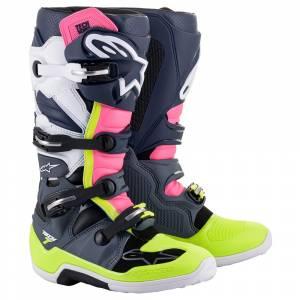 Alpinestars Tech 7 Grey Dark Blue Pink Fluo Motocross Boots
