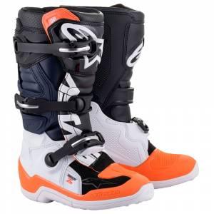 Alpinestars Kids Tech 7S Black White Orange Fluo Motocross Boots