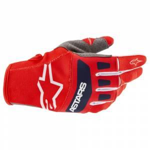 Alpinestars Techstar Red White Dark Blue Motocross Gloves