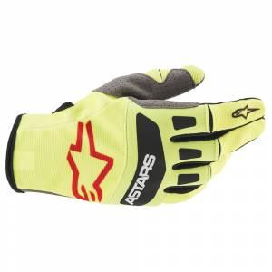 Alpinestars Techstar Yellow Fluo Black Red Motocross Gloves