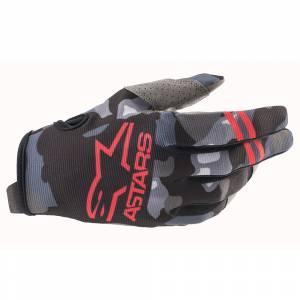 Alpinestars Radar Grey Camo Red Fluo Motocross Gloves